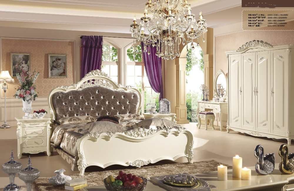 high class french noble new style bedroom furniture sets with bed chest of drawersbed side tabledressing table and chair 923