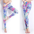 Quality Colorful Floral Print Elastic Pants No Shine Women Long Tigths Legging