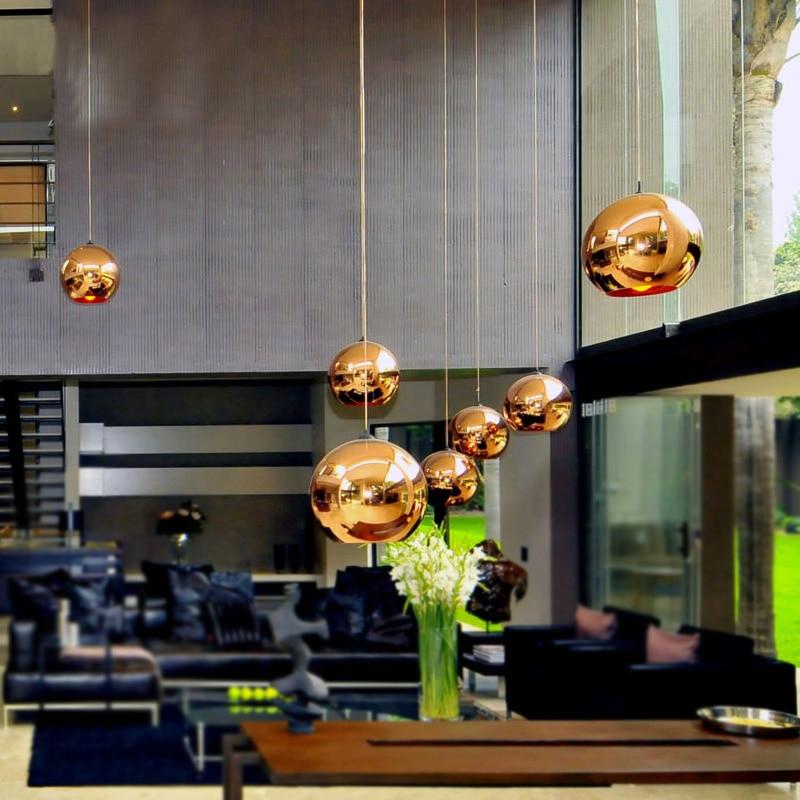 Globe Copper Color Glass Mirror Ball Pendant Light Electroplate Hanging Lamp Lighting Fixture for KTV Dining Room Bar Restaurant цена