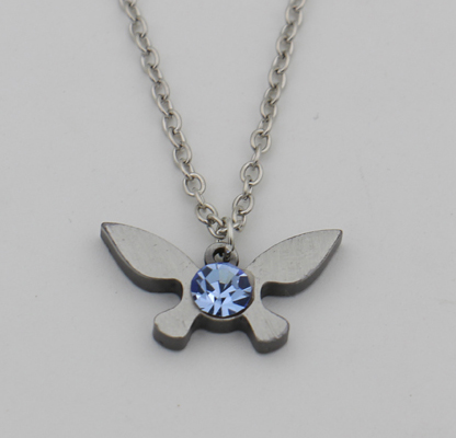 Legend of Zelda Necklace Zelda Triforce Pendant Navi Necklace Sapphire Jewelry Butterfly Charm Papillon Necklace Dropshipping