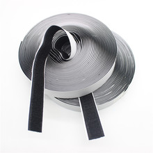 20mm * 5meters / Pasang Hitam Putih Velcro Pengikat Sihir Sticker Self Adhesive Hooks Loop Disk Strip Tape dengan Lem