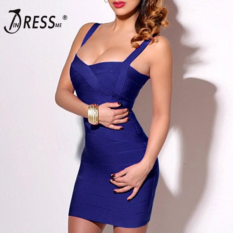 INDRESSME 2019 Bandage robe Sexy Mini Spaghetti sangle moulante sans bretelles Club fête d'été dame robes Femme robes