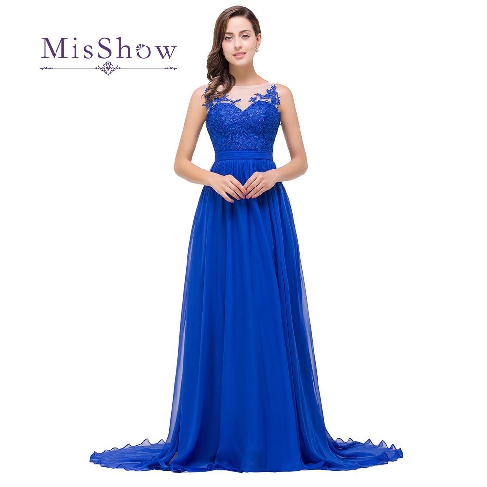 Robe De Soiree Elegant Appliques Royal Blue Long Evening Dresses 2019 Sexy Sheer Neck Floor Length Evening Prom Party Dresses