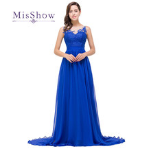 Robe De Soiree Elegant Appliques Royal Blue Long Evening Dresses 2019 Sexy Sheer  Neck Floor Length Evening Prom Party Dresses e261b0c28636