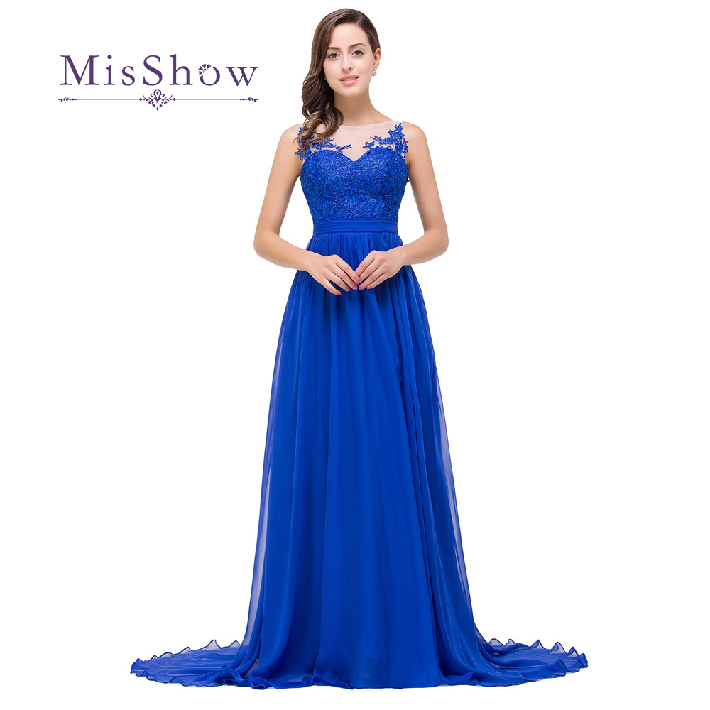 Robe De Soiree Elegant Appliques Royal Blue Long   Evening     Dresses   2019 Sexy Sheer Neck Floor Length   Evening   Prom Party   Dresses