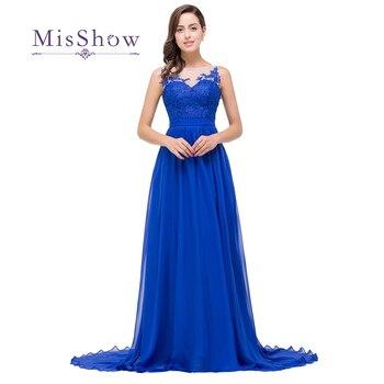 7dc12dd15 Vestido De fiesta elegante apliques azul real vestidos De noche largos 2019  Sexy pura cuello longitud piso vestidos De fiesta