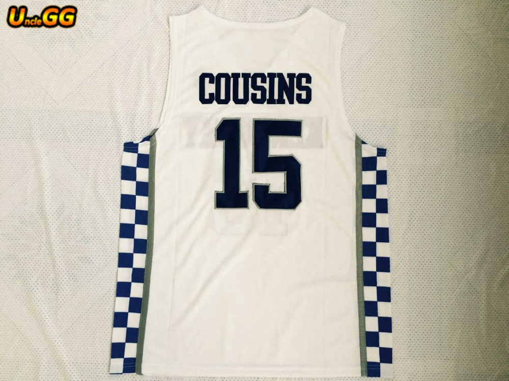 98630afd87c0 ... closeout uncle gg kentucky wildcats 15 demarcus cousins white blue  embroidery stitched college basketball jersey wholesale