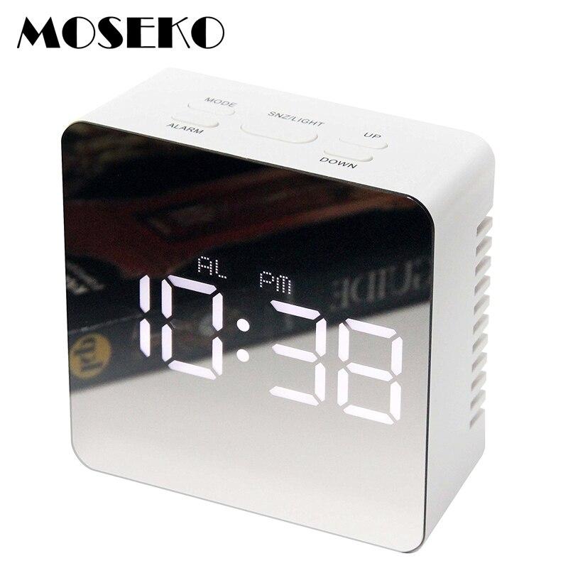 MOSEKO Modern Portable Alarm Clock, Make-Up Mirror & Night Light Clock with LED Digital Thermometer,Travel Desktop Alarm Clock