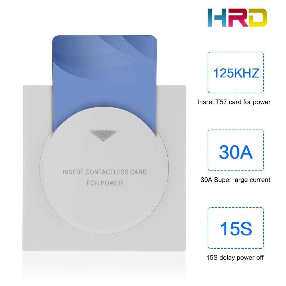 Blanc hôtel energy saving carte-clé rf 30A capteur interrupteur avec 15 s retard insérez la carte pour prendre le pouvoir faible fréquence puce carte wwitch