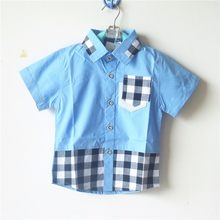 Retail Children's Clothing Plaid Pattern Boy's Shirt Baby Boys' Summer Tops LKC155(China)