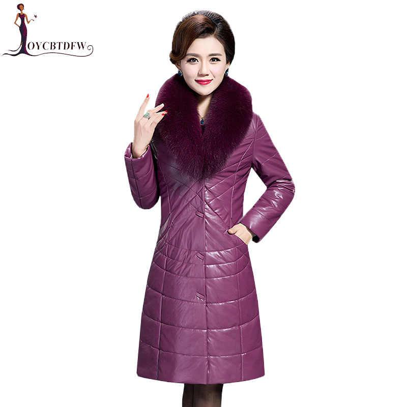 2018 зимнее женское пальто из овчины размера плюс 6XL воротник из лисьего меха альпака натуральная кожа куртка женская теплая верхняя одежда Feminino XY435