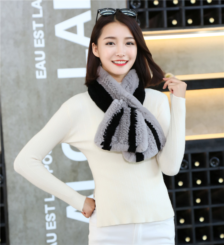 Módní luxusní pletené dámské zimní měkké teplé Rexové králičí kožešinové šály