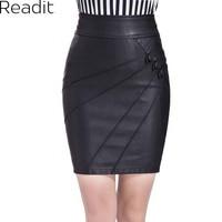 PU Leather Skirt Women Black Pencil Skirt New 2014 High Waist Bandage Skirts Women S Clothing