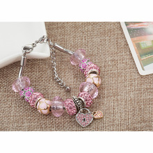 aiboduo Pink Crystal Charm Silver Bracelets & Bangles For Women With Heart Beads Fashion Bracelet Femme Jewelry B00051