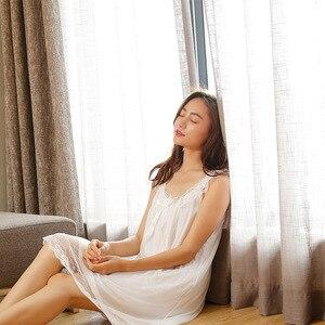 Image 4 - Sleep Lounge ชุดนอนลูกไม้ Nightgowns เซ็กซี่เสื้อผ้าในร่มบ้านสีขาวสีชมพู Chemise โบว์น่ารักสายรัด Nightdress