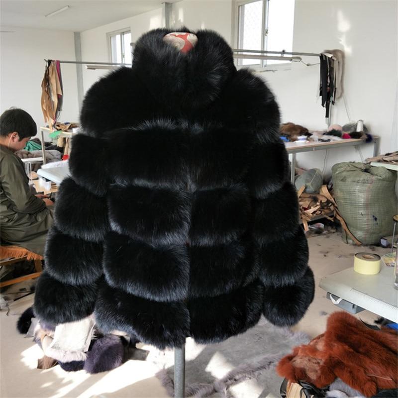 Grey Col Avec Manches Fourrure Tenue Chaud Plus Amovible Vestes Naturel Dark Longues De Renard À La Real Style noir Luxury Manteaux Angleterre Épais Taille FcfwBxnR