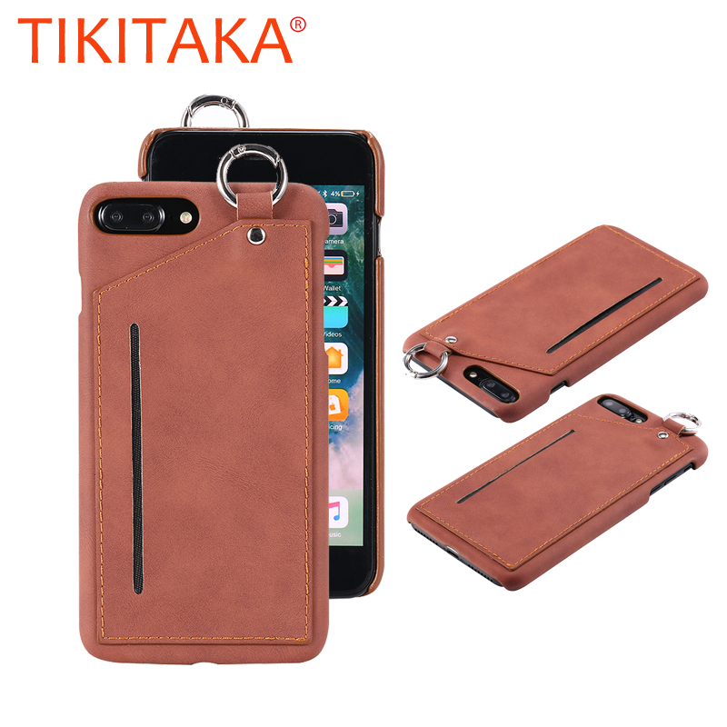 Retro PU Leather Anti-slip Phone Cases Cool man males Back Cover With Card Bag Hanging Ring For iphone 6 6s plus 7 8 plus X