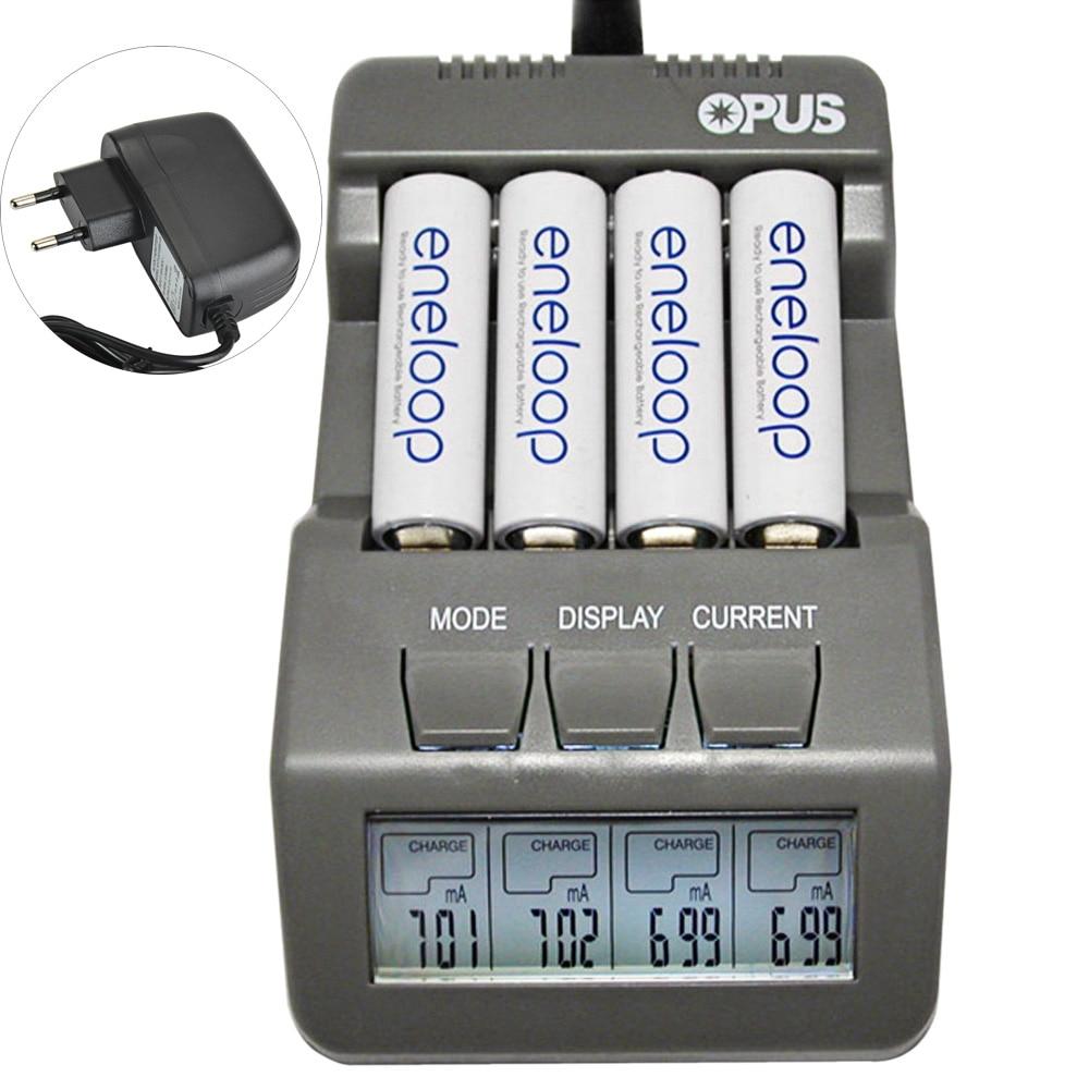 Opus BT-C700 NiCd NiMh LCD Digital inteligente 4-ranuras cargador de batería de iones de litio/Ni-MH/NiCd baterías US/EU Plug