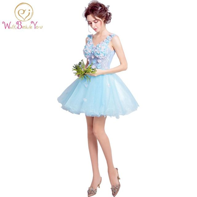 Walk Beside You Formal Women Dress Prom Dress Blue Flowers Lace ...