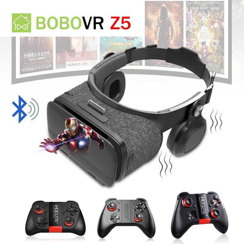 BOBOVR Z5 VR Bluetooth Headset Glasses Vibrator Head Mount Virtual Reality Box Headphone With Mocute 050 054 056 Remote Controll mocute 052 bluetooth vr remote controller black