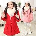 Boa qualidade! 2015 Outono e Inverno Meninas Casaco De Lã Crianças Casaco De Lã Grossa Gola De Pele Casaco Grande Virgem Lojas de Fábrica