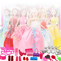 Besegad 42pcs Mini Doll Headwear Jewelry Crown Necklaces Shoes Combs Cosmetic Make Up Tools Accessories Set for Barbie Dolls Toy