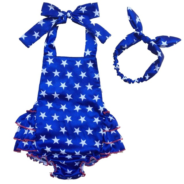 c050000347e 4th of July Romper baby 4th of july outfit Baby Sunsuit Bubble Romper  Ruffle Bottom Girls 4th of July Flag Outfit