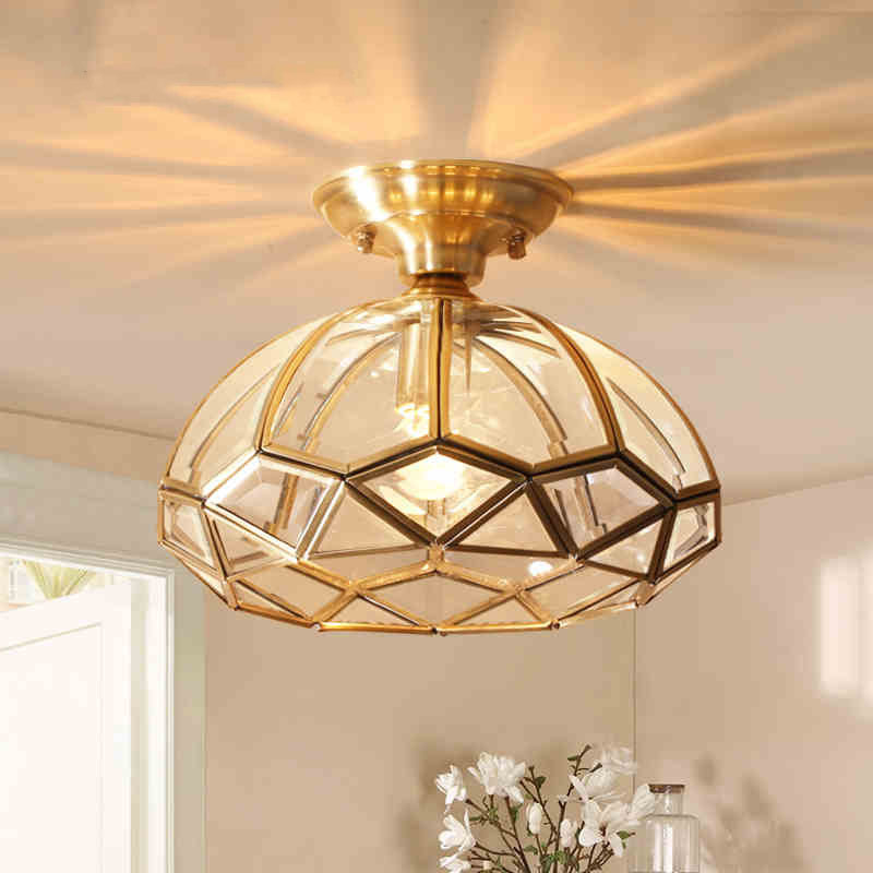 American Rural Small chandelier Copper Glass Led Balcony light Aisle Corridor light porch overhead light free shipping ems full copper porch corridor balcony lamp american country big droplight household decorates beautification