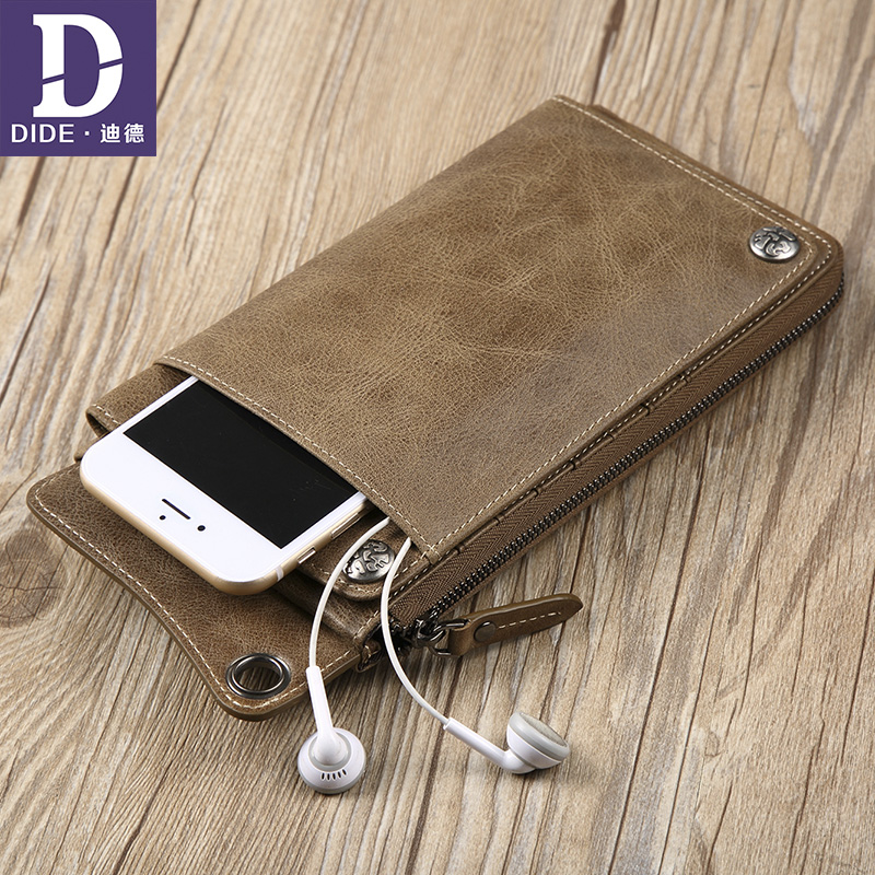 DIDE Multifunction Genuine Leather Wallets men Brand Design High Quality Wallet male Fashion Dollar Price Long Purse Card Holder ms brand men wallets dollar price purse genuine leather wallet card holder designer vintage wallet high quality tw1602 3