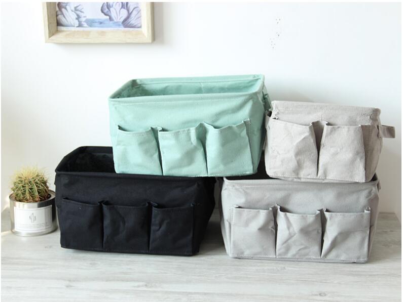 Linen Storage Box Bins Clothing Socks Organizer Storage Basket Sundries  Desktop Storage Case Bag Organizer Home
