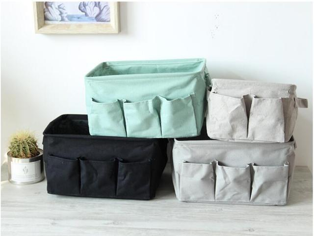 Linen Storage Box Bins Clothing Socks Organizer Storage Basket Sundries  Desktop Storage Case Bag Organizer Home