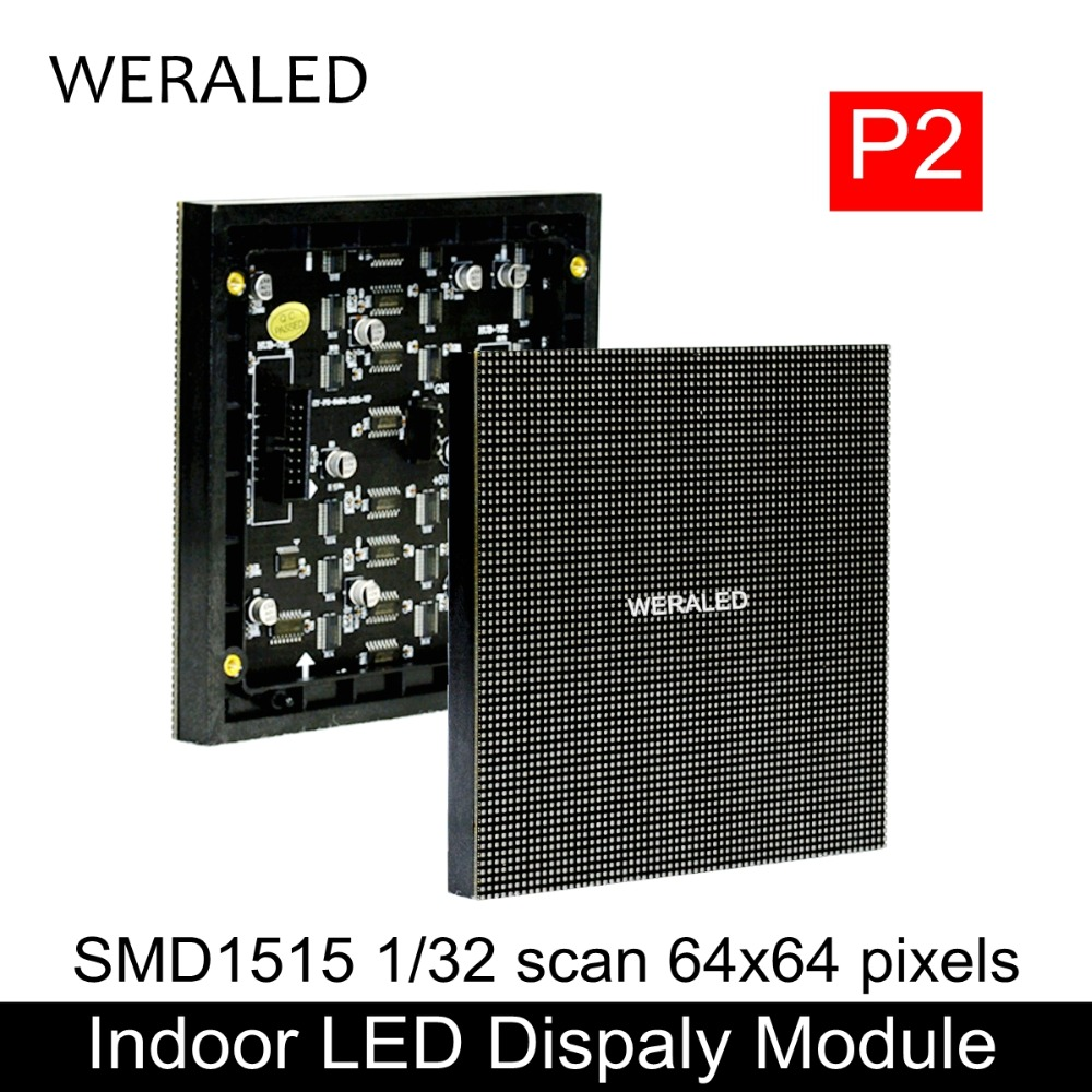 WERALED P2 Indoor SMD1515 Full Color LED Display Module 3-in-1 128*128mm 64*64/128*64 Pixels Clear Video Screen LED Panel