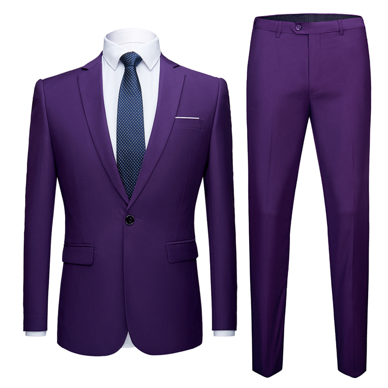 Purple Suit Costume Single-Button-Suit Slim-Fit Party Fashion Mens 2pieces Male