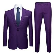 Men Purple Suit 2019 Fashion Wedding Suits for Men 2 Pieces Slim Fit Single Button Suit Mens Party Prom Tuxedo Suit Male Costume