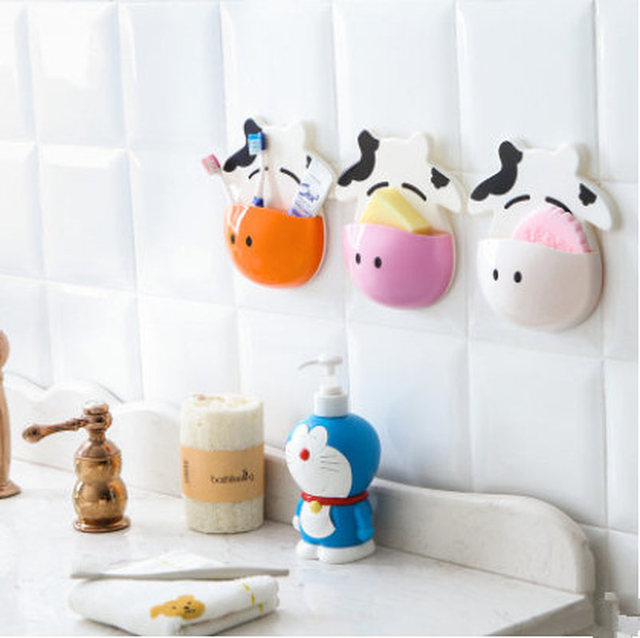 Cute Cow Toothbrush Holder Bathroom Kitchen Family Toothbrush Suction Cups Holder Wall Stand Hook Cups Storage