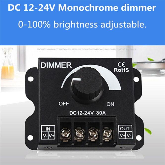 DC12V-24V LED Dimmer 30A 360W-720W Adjustable Brightness Lamp Strip Light Driver Single Color LED Controller 5050 3528 Tape