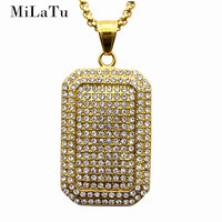 MiLaTu Full Bling Rhinestone Army Tag Pendant Necklace For Men Stainless Steel Dog Tag Hip Hop