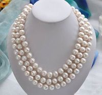 50 inch Huge AAA 9 10MM south sea white baroque pearl necklace 14K Gold Clasp
