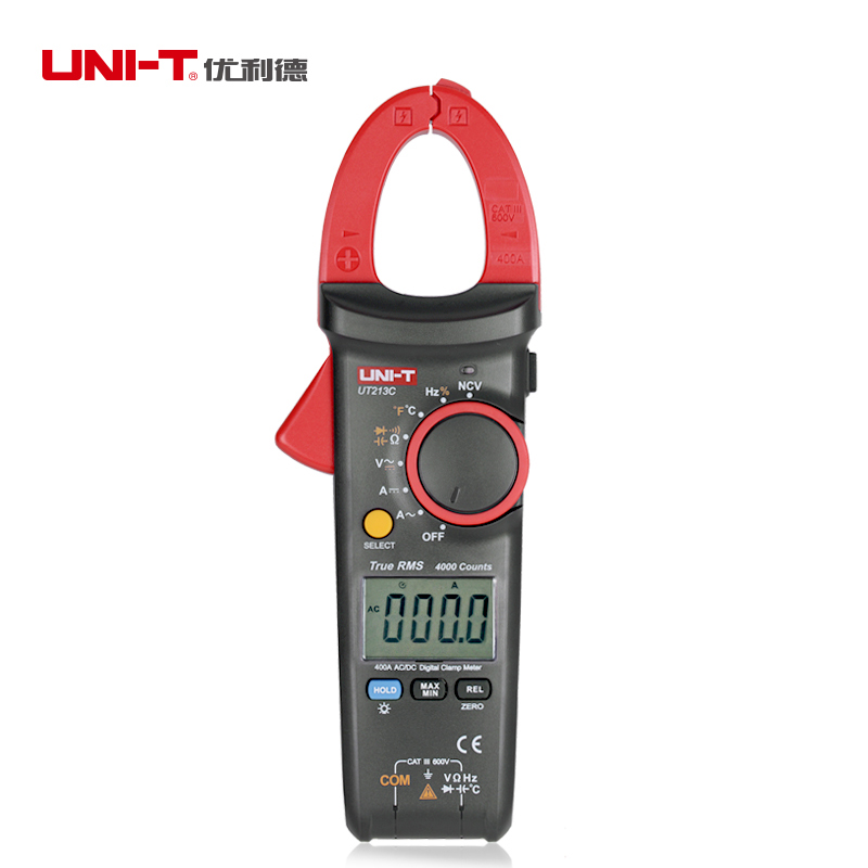 UNI-T UT213C Digital LCD Clamp Meter Multimeter AC/DC Voltage Current Resistance Capacitance Diode Continuity NCV Temperature mastech ms2001f holdheld digital clamp meter 31 2 bit ac digital clamp continuity diode test with backlight