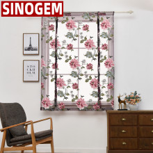 Kitchen short roman blinds sheer curtain peony sheer panel tulle window treatment door curtains home decor rideaux(China)
