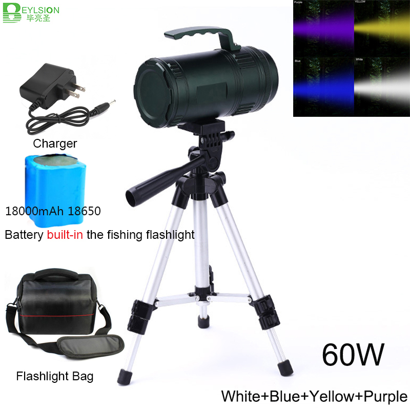 60W Fishing torch Super Bright Searching Flashlight Rechargeable Searching Light LED Max 500m 18000mAh Waterproof Army