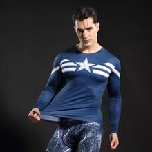 New 2017 Comic Superhero Compression Shirt Captain America Iron man Fit Tight Bodybuilding T Shirt Long