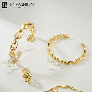 Image 3 - Enfashion Pure Form Small Link Chain Cuff Bracelets Gold Color Brass Bangles For Women Accessories Jewelry Bijoux BF182032