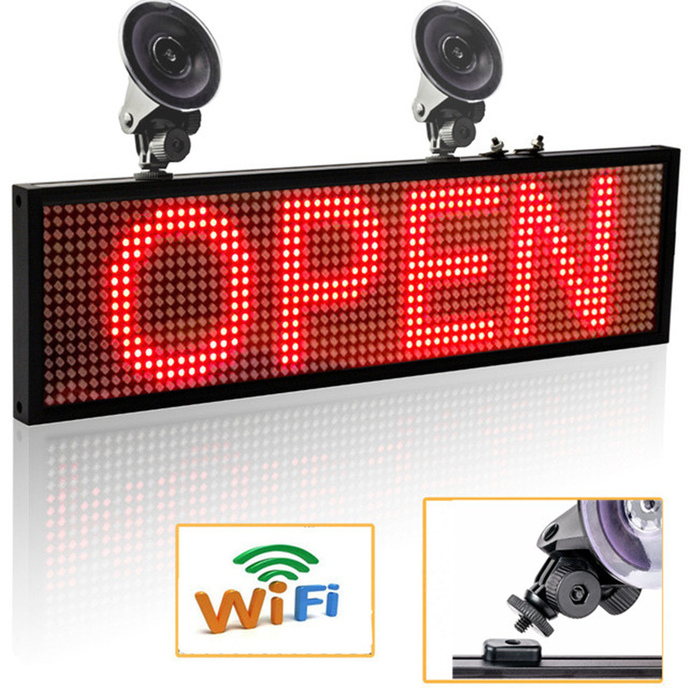 64*16 Pixels P5mm Wif Auto <font><b>LED</b></font> Signs Panel, 12V <font><b>Car</b></font> Scrolling Ad <font><b>Message</b></font> Display Board SMD Indoor Screen Support iOS phone image