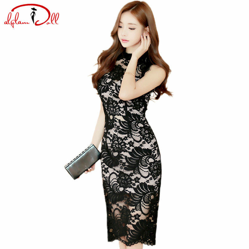 Women Sexy Black Full Lace Dress 2017 Summer Grace Knee Length Vintage Cloth Ladies Sleeveless Bodycon