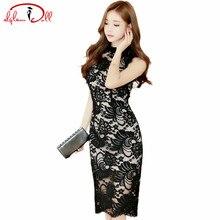Women Sexy Black Full Lace Dress 2017 Summer Grace Knee-Length Vintage Cloth Ladies Sleeveless Bodycon Pencil Party Vestidos