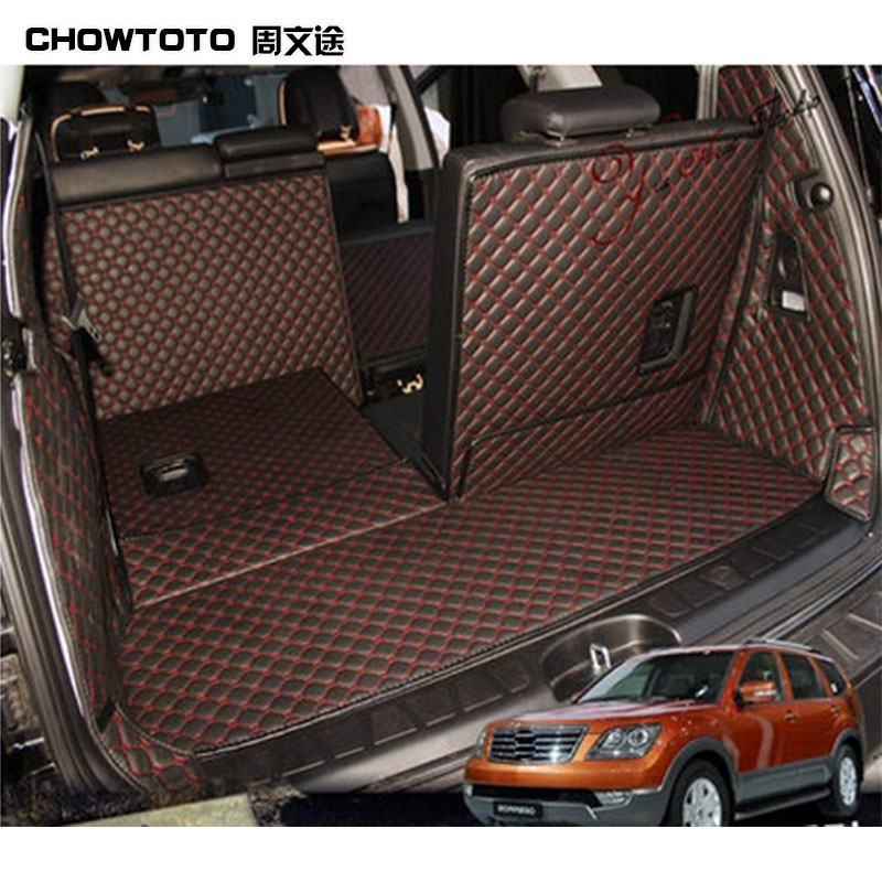 CHOWTOTO AA Auto Trunk Mats For KIA Borrego 7seats Trunk+back Seat Mats Durable Carpets for Borrego 7Seats Lagguge Pad Car Floor цены
