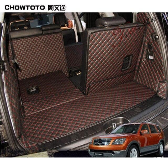 CHOWTOTO AA Auto Trunk Mats For KIA Borrego 7seats Back Seat Durable Carpets