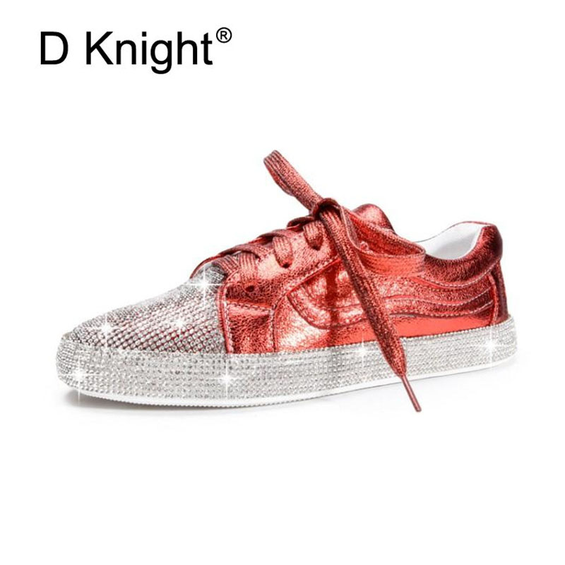 Classic Women PU Leather Shoes Bling Crystal Female Casual Sneakers for Woman Lace Up Plus Size 44 Rhinestone Ladies Flats ShoesClassic Women PU Leather Shoes Bling Crystal Female Casual Sneakers for Woman Lace Up Plus Size 44 Rhinestone Ladies Flats Shoes