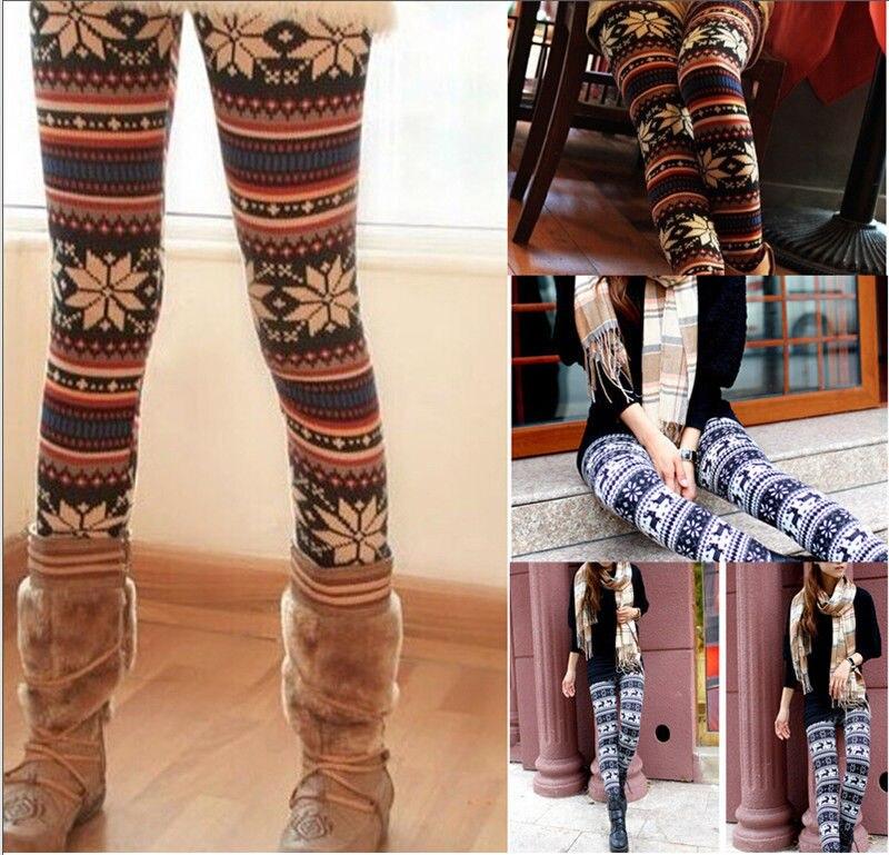 Knitted Leggings Christmas Skinny Winter Warm Women Snowflake Reindeer